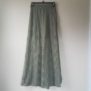 Green Lace Maxi Skirt